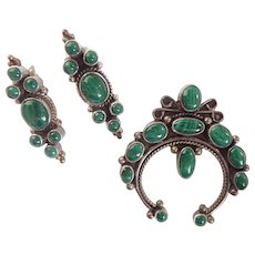Malachite & Sterling * Earrings - Matching Naja Style Pendant/Brooch American Indian Influence