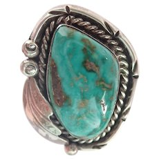 Vintage American Indian Sterling & Turquoise Ring  Size 6 1/2 - 7