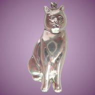 Sterling Silver 3-D Kitty Cat Puffy Pendant and Sterling Necklace