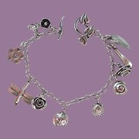 Vintage Sterling Silver Gardening Charm Bracelet with Toggle Clasp