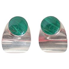 Vintage Taxco, Mexican TC-140 Sterling and Malachite Clip On Earrings