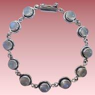 Sterling and Moonstone 11 Stone Link Bracelet