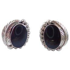 Vintage Taxco Sterling & Onyx Large Clip Earrings