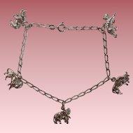 Safari Sterling Charm Bracelet  Animals - Rhino, Lion, Elephant and More!