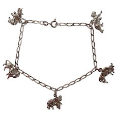 Safari Sterling Charm Bracelet  Animals - Rhino, Lion, Elephant and More!