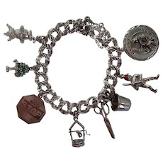 Vintage Sterling Charm Bracelet - Mother's Day, Scissors, Thimble, Wishing Well and More