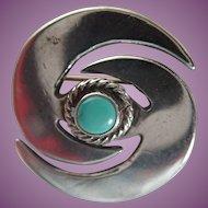 Southwestern Sterling Small Navajo Style Swirl Pin/Brooch