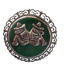 Vintage Taxco Mexican Sterling and Malachite Amigo's Siesta Brooch/Pin