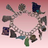 Vintage Sterling 13 Charm Travel Souvenir Bracelet