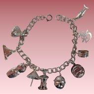Sterling Oriental Theme Charm Bracelet