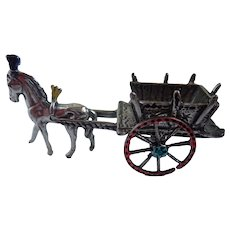 Vintage Miniature Horse and Cart 800 Silver