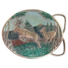 Vintage 1985 C&J Leaping Buck and Doe Pewter Buckle