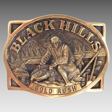 Vintage 1981 Brass Black Hills Gold Rush Heritage Mint Buckle