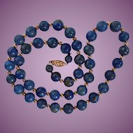 Lapis Lazuli Beaded Necklace with Goldtone Spacers 18""