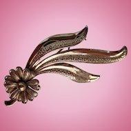 Vintage Forstner Sterling Silver Gold Vermeil Flower Pin Brooch