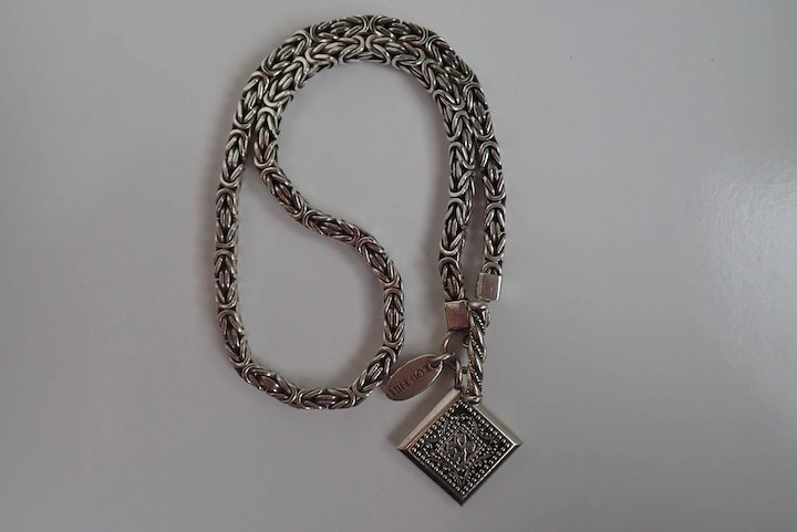 a2a40804e Vintage Lois Hill Byzantine Sterling Silver Weave Box Chain Link Toggle  Necklace