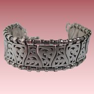 Vintage Lois Hill Sterling Silver Wide Wave Toggle Bracelet