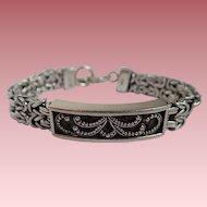 Vintage Lois Hill SS Granulated Scroll & Box Weave ID Bracelet