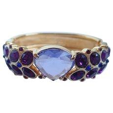 Swarovski Swan Signed Gold Tone Violet, Purple, Blue and Red Crystal Cuff Bangle Bracelet