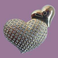 Vintage Swarovski Swan Double Heart Pin/Brooch