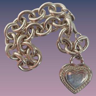 Judith Ripka Retired Silver Sterling Cable Chain Link Heart Charm Bracelet