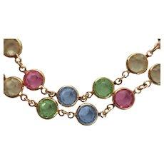 "Vintage Swarovski Swan Pastel 36"" MultiColor Crystal Gold Plated Necklace"