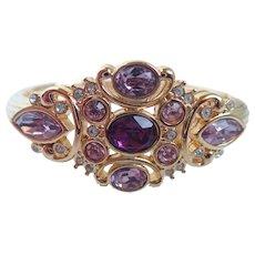 Vintage Swarovski Swan Purple, Violet, White Crystals Gold Tone Cuff Bracelet