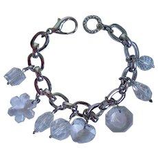 Swarovski Swan Silver Tone Charm Bracelet With Crystal Charms