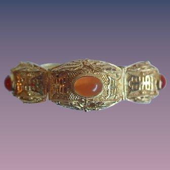 Vintage Chinese Export Gold Gilt Sterling Silver Filigree Carnelian Bracelet