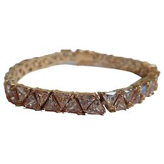 Champagne Cubic Zirconia Trillion Cut Gold Tone Tennis Bracelet