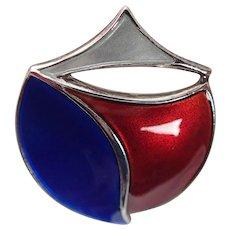 Vintage David Andersen Norway Sterling Silver Modernist Red White Blue Enamel Pin Brooch