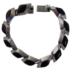 Vintage Taxco Mexican Sterling & Inlaid Onyx Link Bracelet