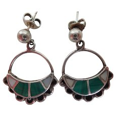Vintage Sterling, Malachite & Mother Of Pearl Southwestern Style Post Earrings