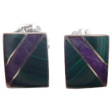 Vintage Sterling Silver, Malachite and Sugilite Square Stud Southwestern Style Pierced Earrings