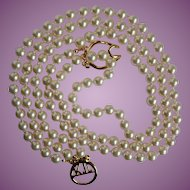 Vintage Kenneth Jay Lane Timeless Three Faux Pearl Necklace with KJL Monogram Clasp