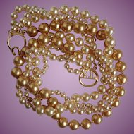 Vintage Kenneth J Lane Champagne Twisted Faux Pearl Necklace with Monogram Clasp