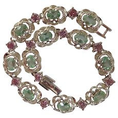 Sterling with Pink and Green Stones Tennis/Line Bracelet