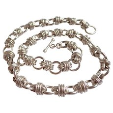 "Mexican Sterling 185 Gram Wrapped Link 22"" Necklace"