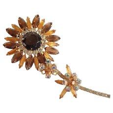 """Vintage Juliana 5"""" Rhinestone Flower Brooch/Pin Delizza & Elster D&E Huge Topaz"""