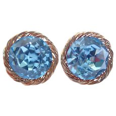 Vintage Vendome Blue Austrian Crystal Clip Earrings