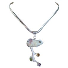 Vintage Charles Albert 950 Sterling Carved Frog with Amethyst, Citrine & Synthetic Peridot Stones