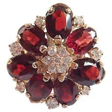Gorgeous Custom Designer Made Garnet & White Diamonds 14k Yellow Gold Ring
