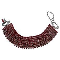 Vintage 8 Row Red Prong Set Rhinestone Bracelet