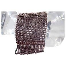 Vintage Butler & Wilson Wide Statement Bracelet with Mauve Prong Set Crystals