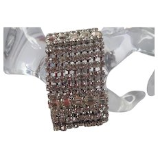 """Vintage 1 1/2"""" Wide White Prong Set Rhinestone Glamour Bracelet"""