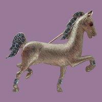 Vintage Trifari Crown Mark High Stepping Horse with Rhinestones