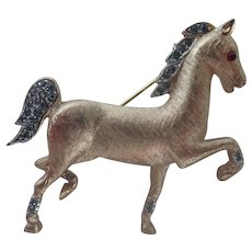 Vintage Trifari Crown Mark High Stepping Horse with Rhinestones