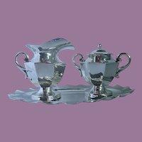 Vintage Mexican JLR - Juvento Lopez Reyes - Sterling Silver Creamer, Sugar Bowl and Tray