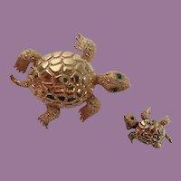 Vintage Pair Monet Sea Turtle Scatter Pins/Brooch