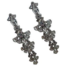 Vintage Prong Set Rhinestone Chandler Clip On Earrings